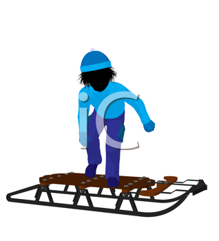 Royalty Free Clipart Image of a Boy With a Sled