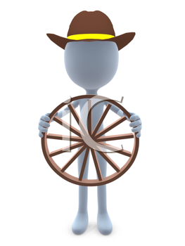 Royalty Free Clipart Image of a 3D Guy Holding a Wagon Wheel
