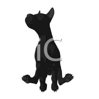 Royalty Free Clipart Image of a Dog Silhouette