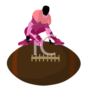 Royalty Free Clipart Image of a Female Football Player on a Ball