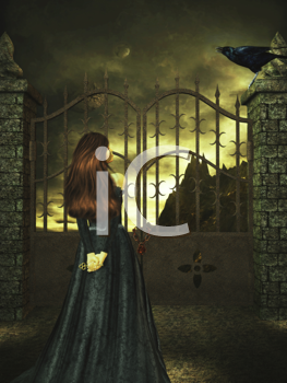 Royalty Free Clipart Image of a Woman Standing at a Gate Looking at a Crow