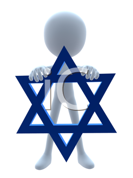 Royalty Free Clipart Image of a 3D Man Holding the Star of David
