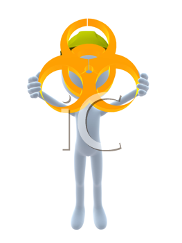 Royalty Free Clipart Image of a 3D Guy Wearing a Hardhat Holding a Hazard Sign