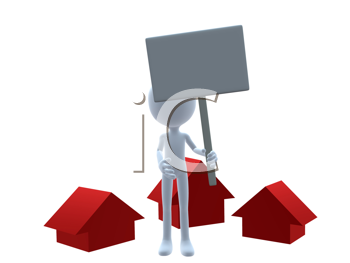 Royalty Free Clipart Image of a 3D Man Holding a Sign Beside Three Red Houses