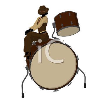 Female jazz player on drums on a white background