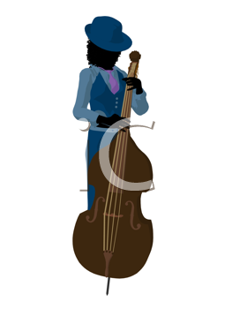 African american jazz player on a bass on a white background