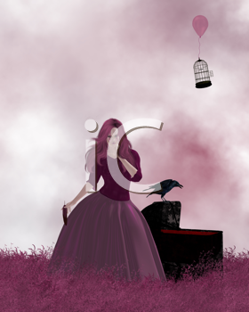 Woman standing in a field of pink grass next to a crow.