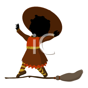 Royalty Free Clipart Image of a Baby Witch