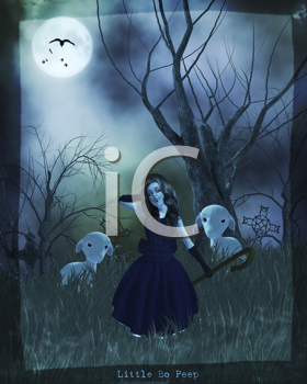 Royalty Free Clipart Image of a Shepherdess at Night
