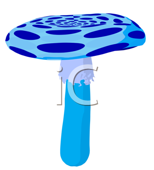 Royalty Free Clipart Image of a Blue Polka Dot Toadstool