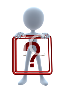 Royalty Free Clipart Image of a 3D Guy Holding a Question Mark Sign