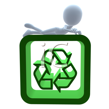 Royalty Free Clipart Image of a 3D Man With a Recycle Sign