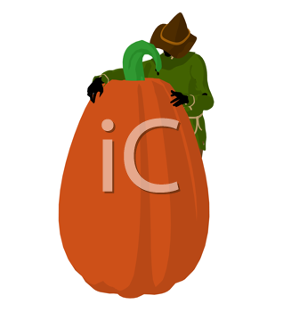 Royalty Free Clipart Image of a Scarecrow and a Pumpkin