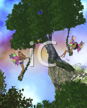 Two fairies swing on swings in a magical enchanted forest