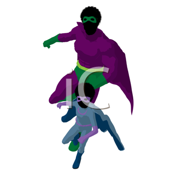 Royalty Free Clipart Image of a Superhero Father and Son