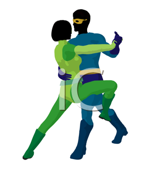 Royalty Free Clipart Image of a Superhero Couple