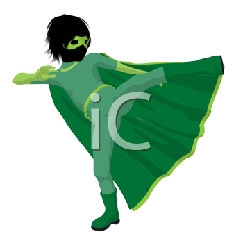 Royalty Free Clipart Image of a Boy Superhero