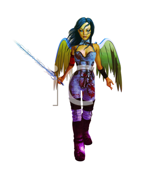 Royalty Free Clipart Image of an Archangel Holding a Sword