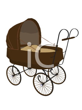 Royalty Free Clipart Image of a Baby Buggy