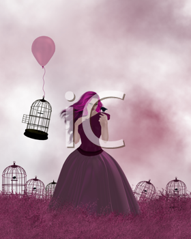 Young woman standing in a field of birdcages and pink grass