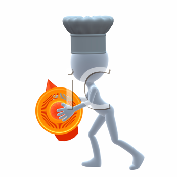 Royalty Free Clipart Image of a Chef Holding a Juicer