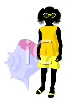 Royalty Free Clipart Image of a Girl With a Seashell