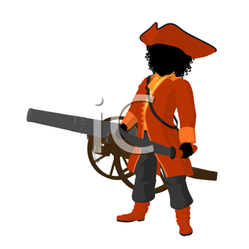 Royalty Free Clipart Image of a Girl Pirate With a Cannon