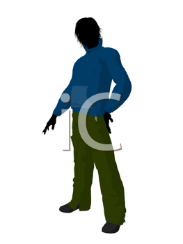Royalty Free Clipart Image of a Guy in a Blue Top