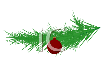 Royalty Free Clipart Image of a Christmas Tree Ornament on an Evergreen