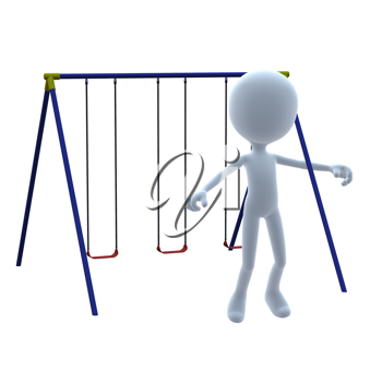Royalty Free Clipart Image of a 3D Guy With a Swing