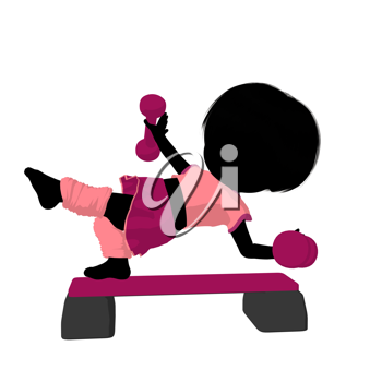 Royalty Free Clipart Image of a Girl Doing Step Aerobics