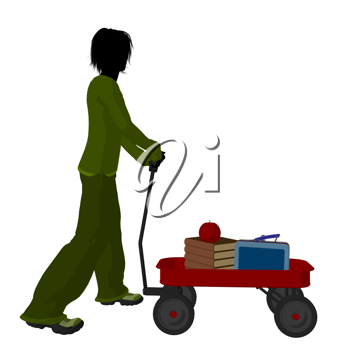 Royalty Free Clipart Image of a Boy With Schoolbooks and an Apple in a Wagon
