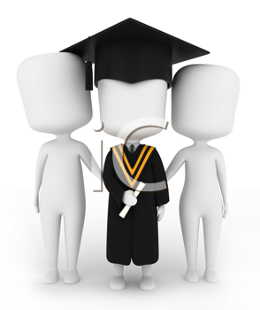 3D Illustration of a Graduate Posing with His Family