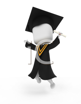 3D Illustration of a Graduate Jumping Happily