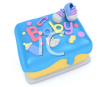 3D Illustration of a Cake for a Boy Baby Shower
