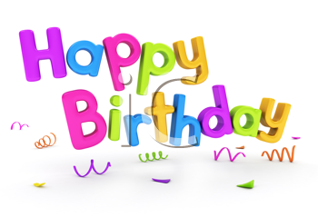3D Text Featuring the Words Happy Birthday