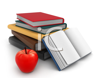 Illustration of a Pile of Books with an Apple Beside it