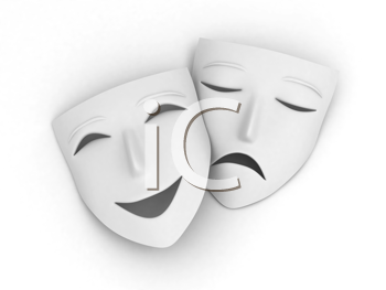 3D Illustration of a Pair of Masks Symbolizing the Comedy and Tragedy
