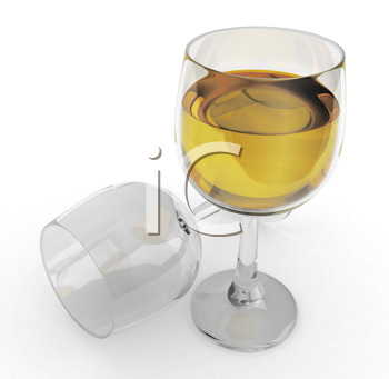 3D Illustration of White Wine of Glass