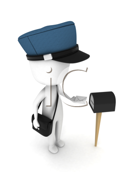 3D Illustration of a Man Putting a Letter in a Mailbox