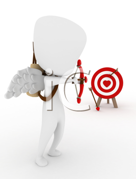 3D Illustration of a Cupid Target Shooting