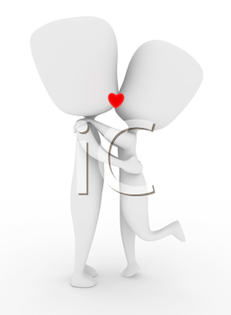 Illustration of a Couple With Lips Locked in a Kiss