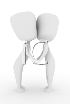 3D Illustration of a Couple Holding Hands While Kissing