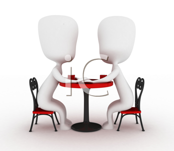 3D Illustration of a Couple Holding Hands in a Cafe
