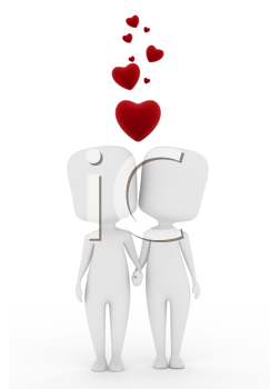 3D Illustration of a Man and Woman in Love