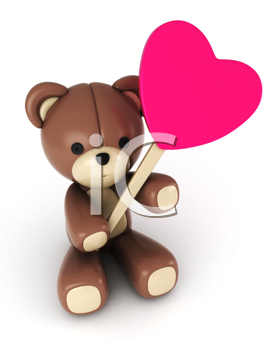 3D Illustration of a Stuffed Toy Holding a Heart Shaped Lollipop