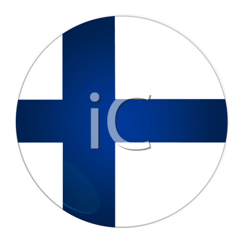Abstract illustration: button with flag from Finland country