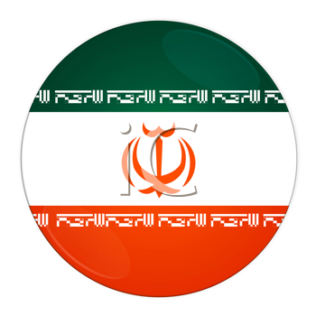 Abstract illustration: button with flag from Iran country