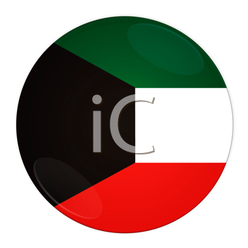Abstract illustration: button with flag from Kuwait country