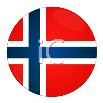 Abstract illustration: button with flag from Norway country